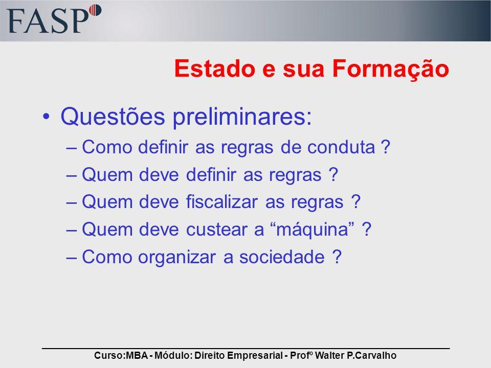 _____________________________________________________________________________ Curso:MBA - Módulo: Direito Empresarial - Profº Walter P.Carvalho Estado