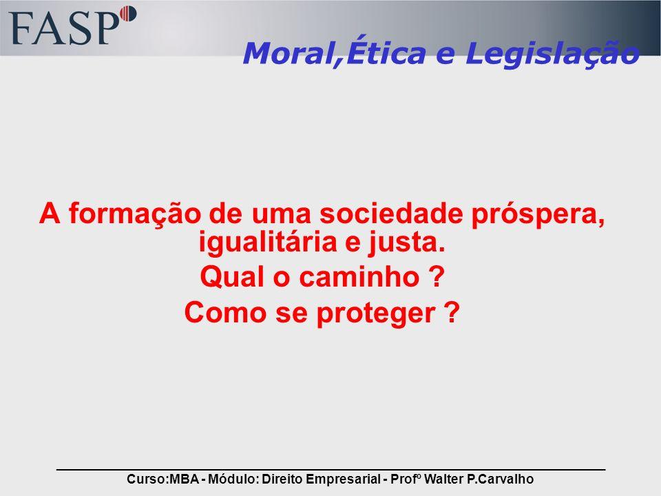 _____________________________________________________________________________ Curso:MBA - Módulo: Direito Empresarial - Profº Walter P.Carvalho Agradecimentos Pode não ter sido direito, mas é o DIREITO, Pode não corresponder aos nossos anseios, Pode não ser realmente o que deveria ser Poderia ser melhor .