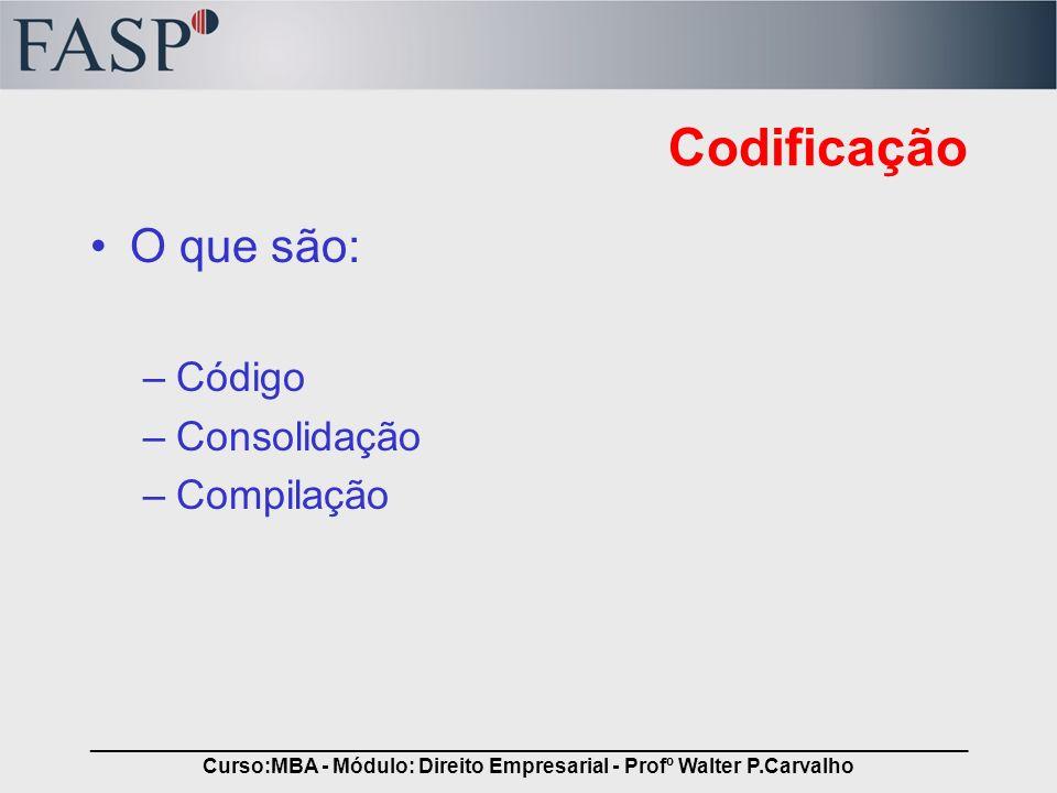 _____________________________________________________________________________ Curso:MBA - Módulo: Direito Empresarial - Profº Walter P.Carvalho Codifi