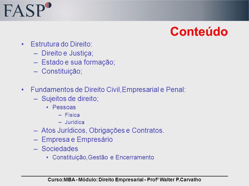 _____________________________________________________________________________ Curso:MBA - Módulo: Direito Empresarial - Profº Walter P.Carvalho Conteú