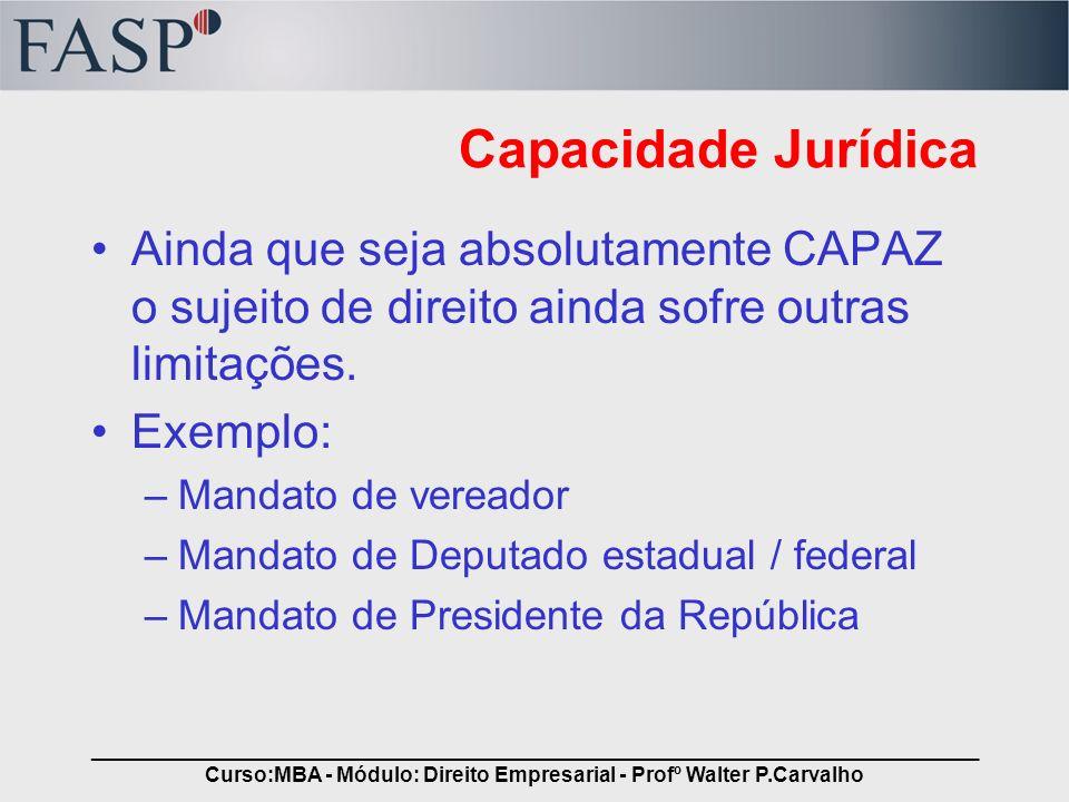_____________________________________________________________________________ Curso:MBA - Módulo: Direito Empresarial - Profº Walter P.Carvalho Capaci