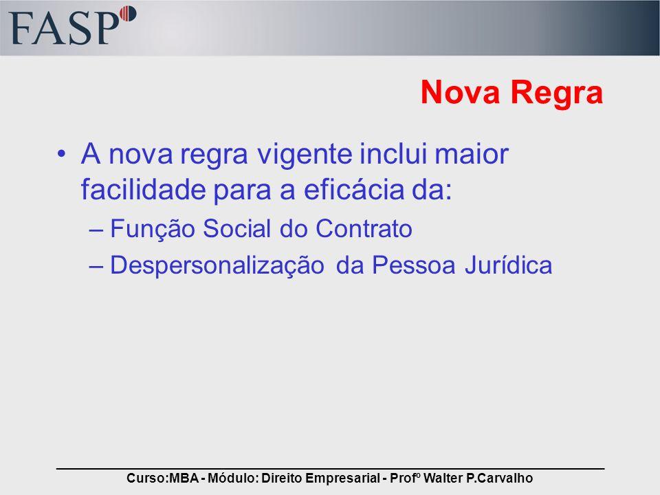 _____________________________________________________________________________ Curso:MBA - Módulo: Direito Empresarial - Profº Walter P.Carvalho Nova R