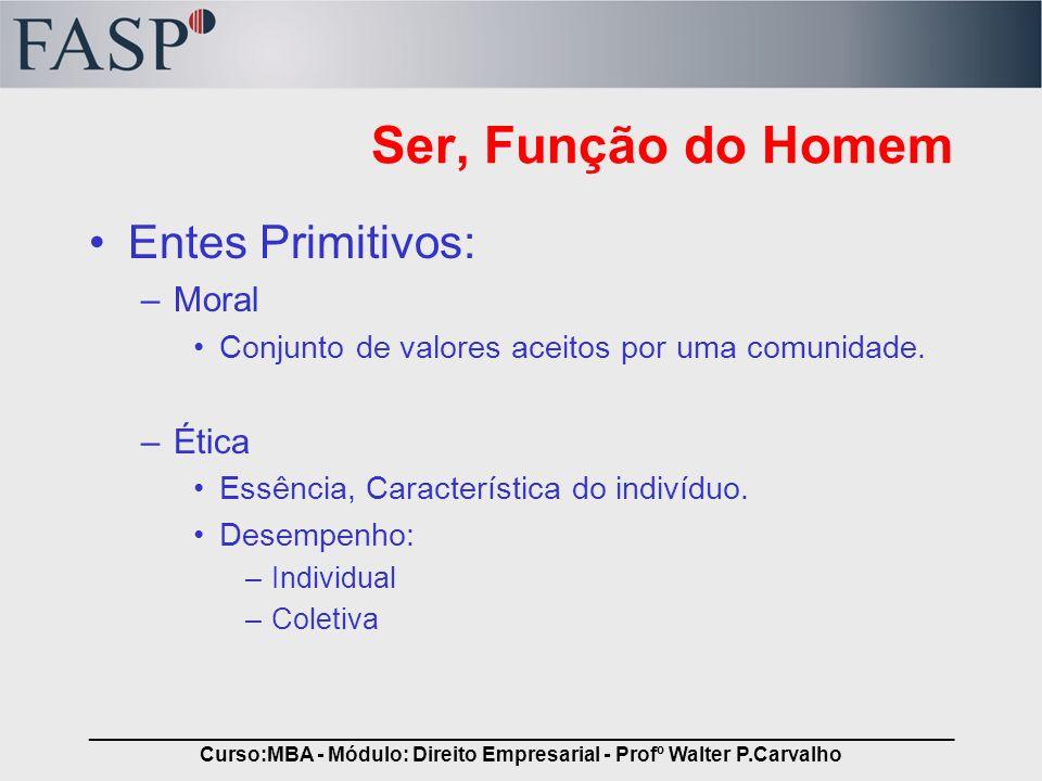_____________________________________________________________________________ Curso:MBA - Módulo: Direito Empresarial - Profº Walter P.Carvalho Ser, F