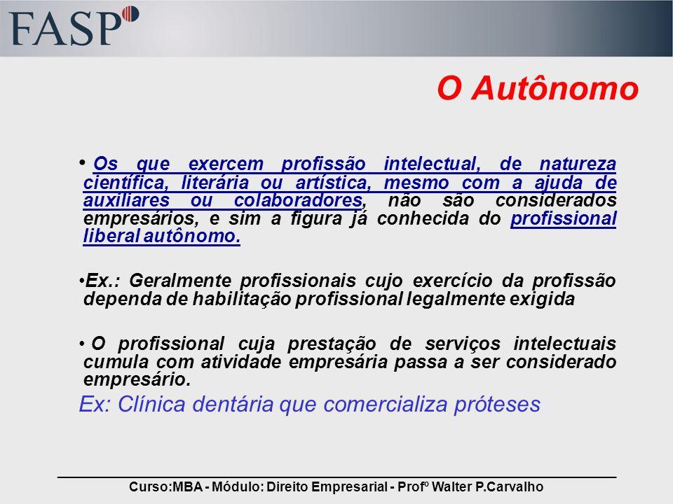 _____________________________________________________________________________ Curso:MBA - Módulo: Direito Empresarial - Profº Walter P.Carvalho O Autô