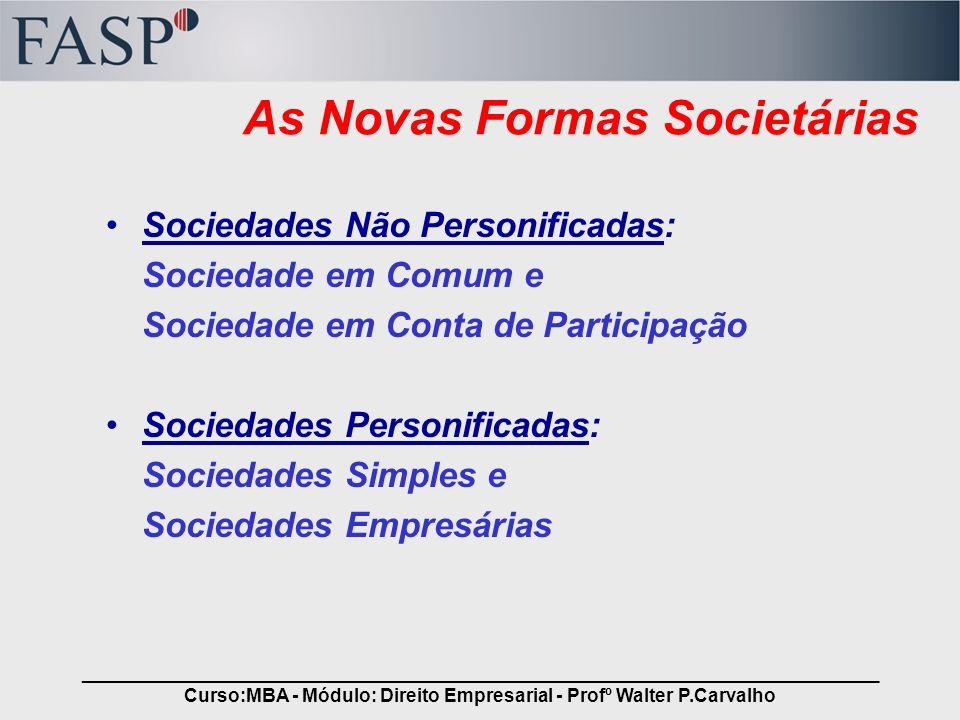 _____________________________________________________________________________ Curso:MBA - Módulo: Direito Empresarial - Profº Walter P.Carvalho As Nov