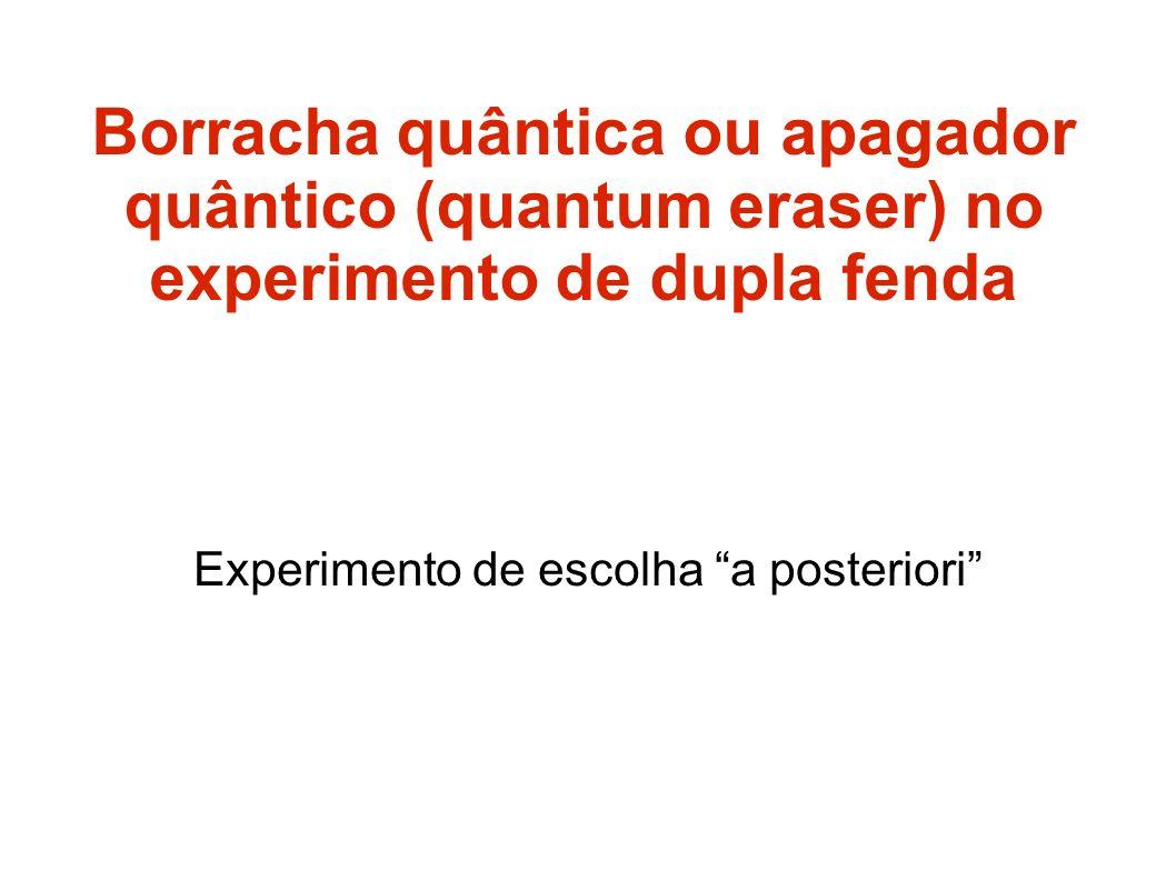 Borracha quântica ou apagador quântico (quantum eraser) no experimento de dupla fenda Experimento de escolha a posteriori