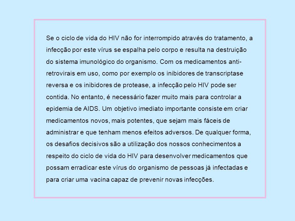 Se o ciclo de vida do HIV não for interrompido através do tratamento, a infecção por este vírus se espalha pelo corpo e resulta na destruição do siste