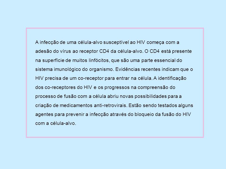A infecção de uma célula-alvo susceptível ao HIV começa com a adesão do vírus ao receptor CD4 da célula-alvo. O CD4 está presente na superfície de mui