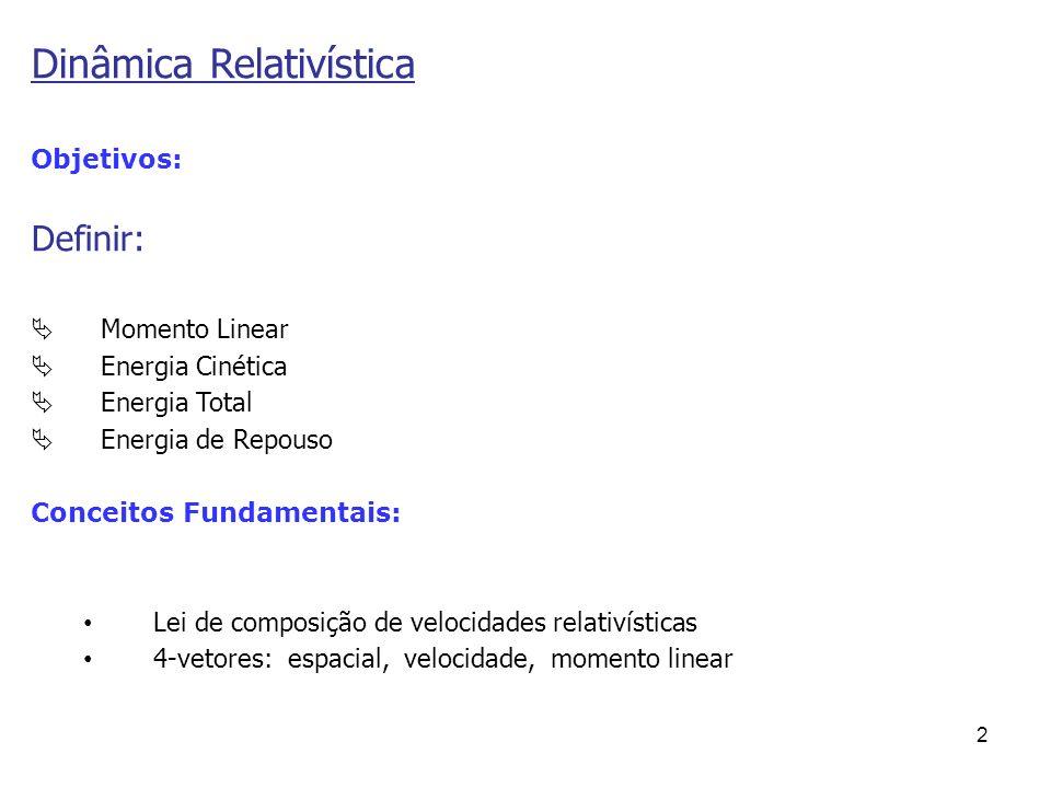 2 Objetivos: Definir: Momento Linear Energia Cinética Energia Total Energia de Repouso Conceitos Fundamentais: Lei de composição de velocidades relati