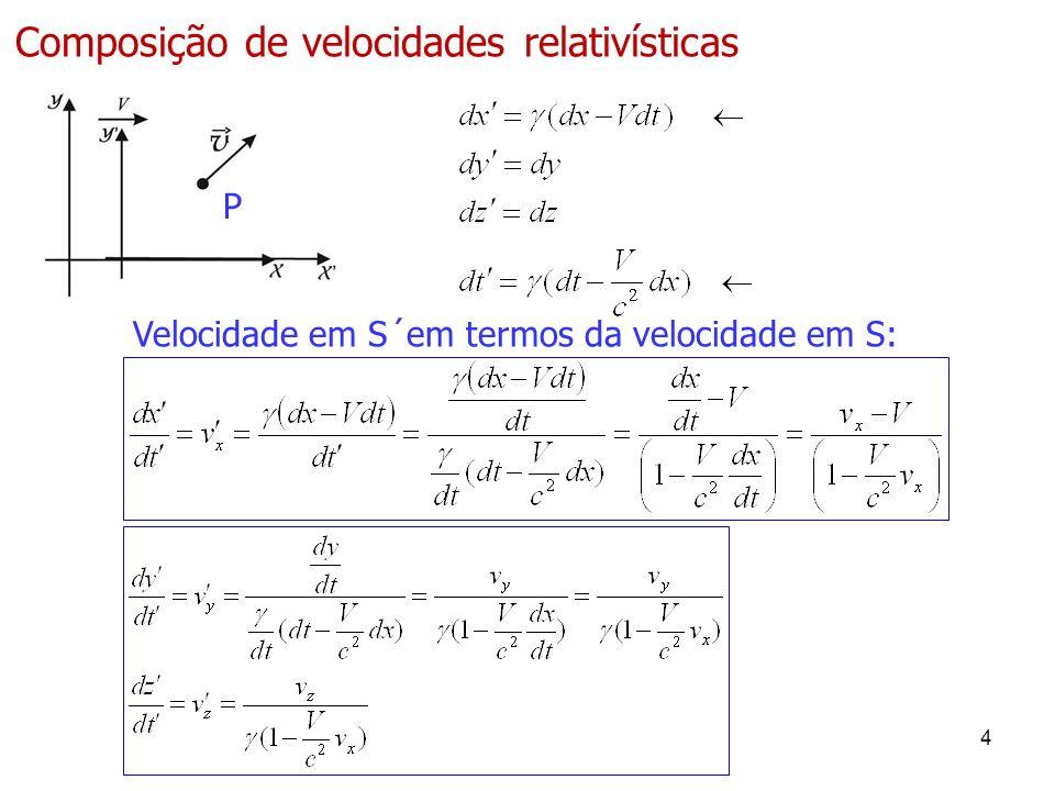 P 4 Composição de velocidades relativísticas Velocidade em S´em termos da velocidade em S: