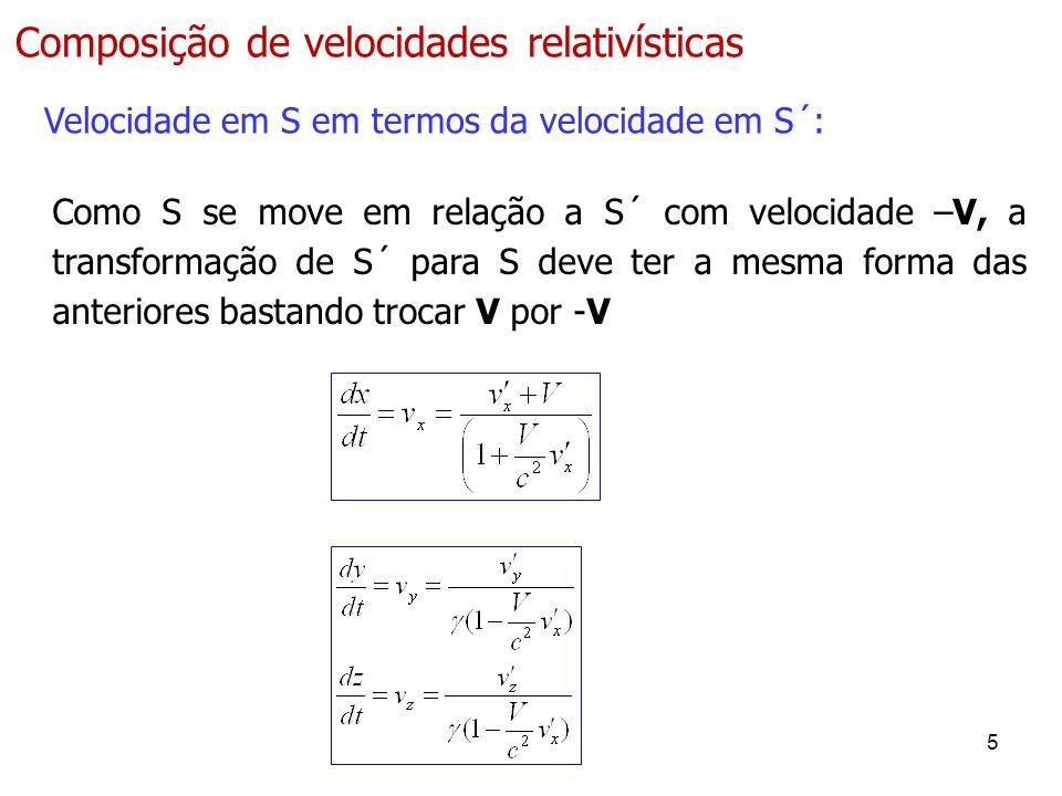 5 Composição de velocidades relativísticas Velocidade em S em termos da velocidade em S´: Como S se move em relação a S´ com velocidade –V, a transformação de S´ para S deve ter a mesma forma das anteriores bastando trocar V por -V