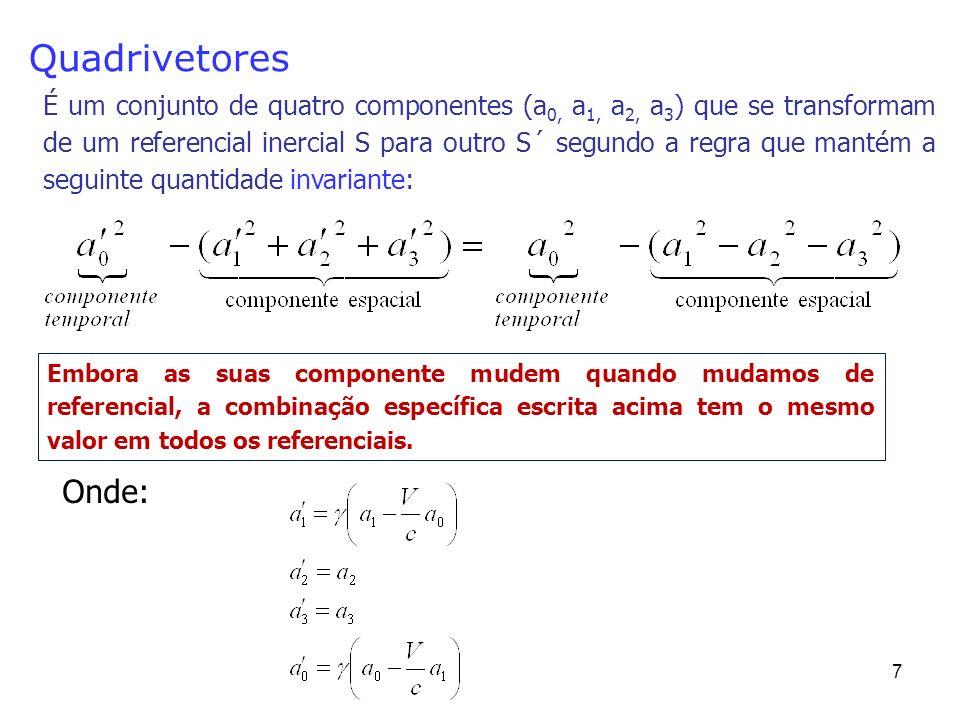 7 Quadrivetores É um conjunto de quatro componentes (a 0, a 1, a 2, a 3 ) que se transformam de um referencial inercial S para outro S´ segundo a regra que mantém a seguinte quantidade invariante: Embora as suas componente mudem quando mudamos de referencial, a combinação específica escrita acima tem o mesmo valor em todos os referenciais.