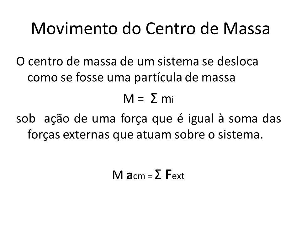Movimento do Centro de Massa O centro de massa de um sistema se desloca como se fosse uma partícula de massa M = Σ m i sob ação de uma força que é igu