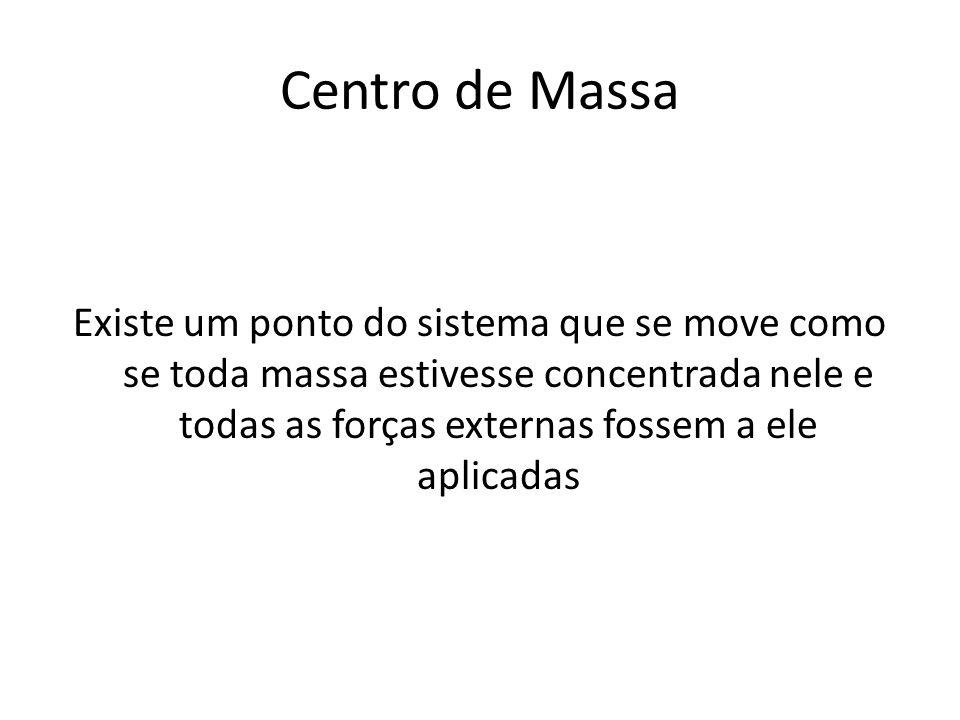 Centro de Massa Existe um ponto do sistema que se move como se toda massa estivesse concentrada nele e todas as forças externas fossem a ele aplicadas