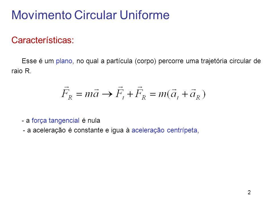 Movimento Circular Uniforme Características: Esse é um plano, no qual a partícula (corpo) percorre uma trajetória circular de raio R. - a força tangen