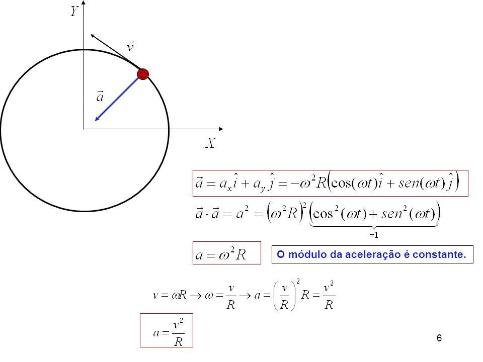 6 O módulo da aceleração é constante.