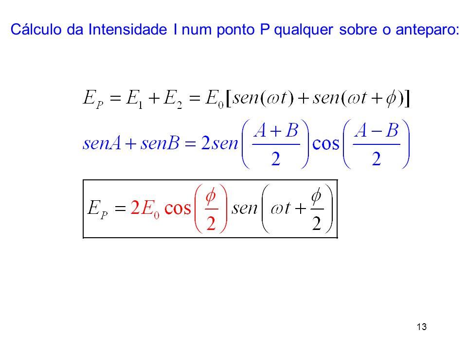 13 Cálculo da Intensidade I num ponto P qualquer sobre o anteparo: