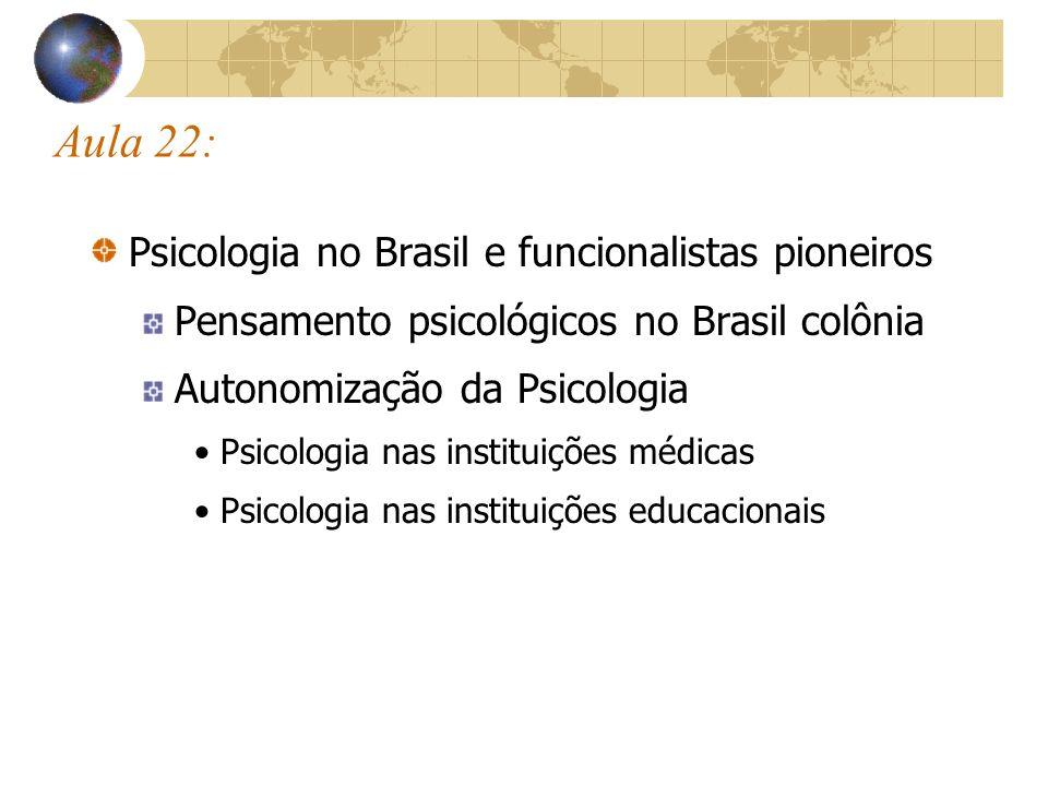 Brasil colônia (1530 –1822): período pré- institucional da psicologia ( Pessotti, 1988) Pensamento psicológico produzido por outras área do saber: Teologia, Moral, Pedagogia, Medicina, Política, Arquitetura.