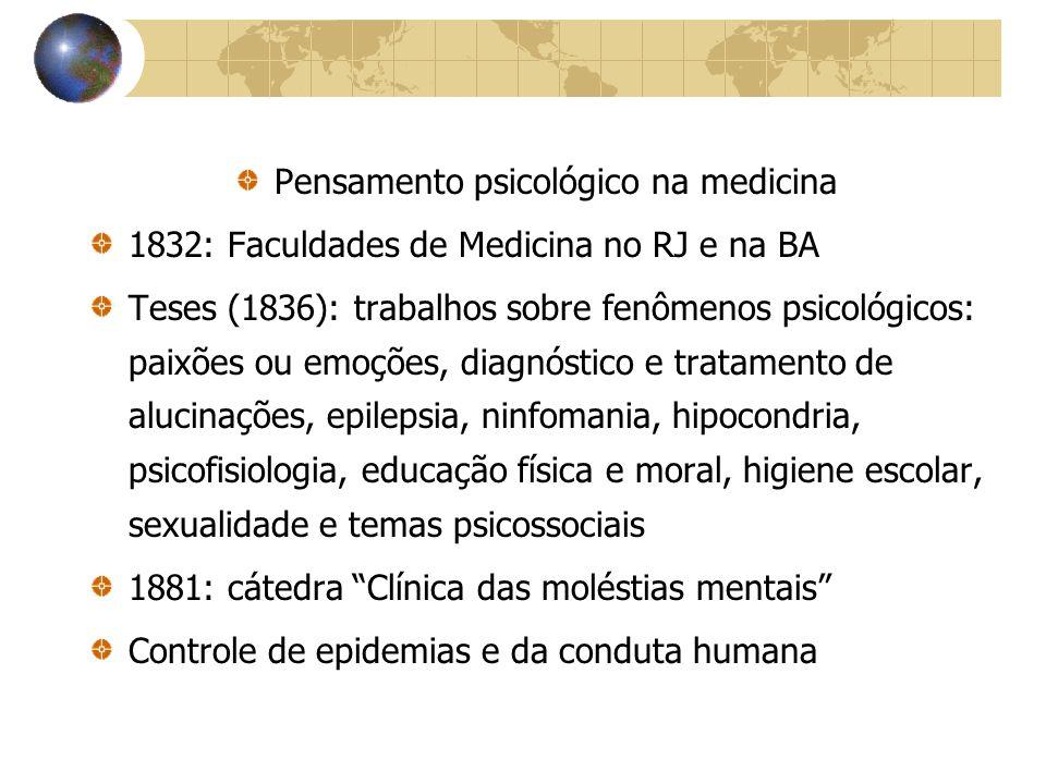 Autonomização da Psicologia Séc XIX – modelo republicano, produção cafeeira, industrialização Pólo = região do sudeste Expansão do ideário liberal – caminhos para o progresso e modernidade Psicologia – ciência autônoma na Europa e EUA Avanço da Psicologia no Brasil