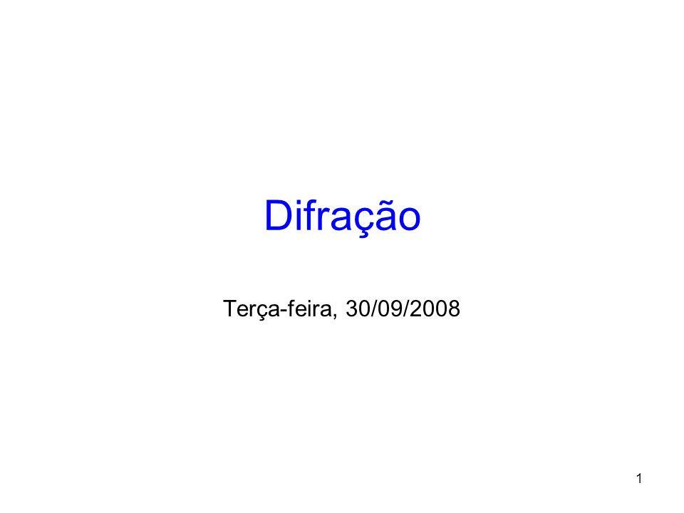 1 Difração Terça-feira, 30/09/2008