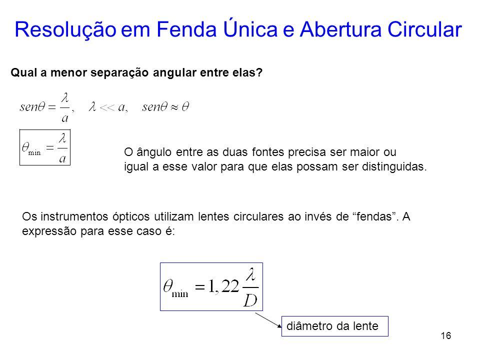 16 Resolução em Fenda Única e Abertura Circular Qual a menor separação angular entre elas? O ângulo entre as duas fontes precisa ser maior ou igual a