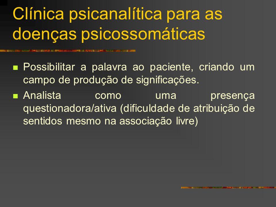 Características das manifestações psicossomáticas: Expressa uma comunicação desconhecida do sujeito.