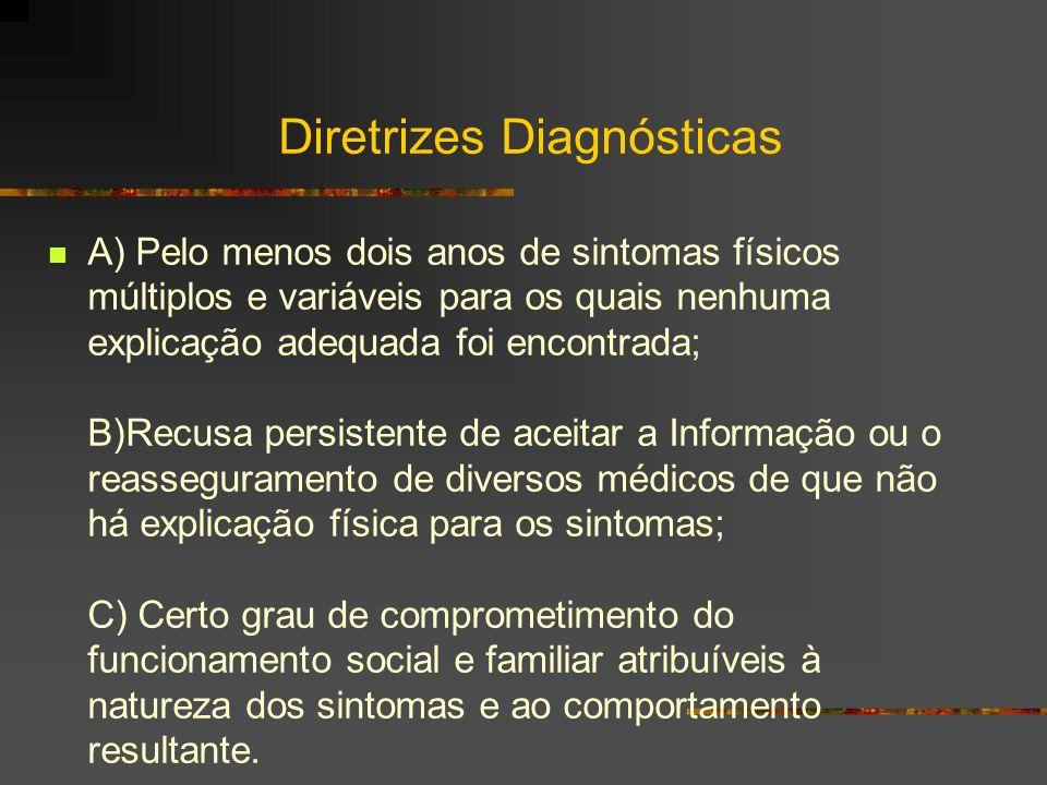CID 10 F45 – Transtornos Somatoformes : Apresentação repetida de sintomas físicos juntamente com solicitação persistentes de solicitação de investigações medicas, apesar de repetidos achados negativos e de reasseguramento pelos médicos de que os sintomas não têm base física.