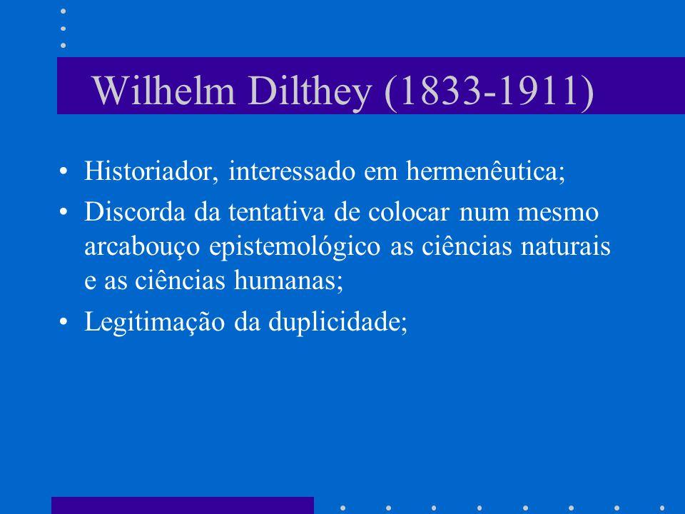 Wilhelm Dilthey (1833-1911) Historiador, interessado em hermenêutica; Discorda da tentativa de colocar num mesmo arcabouço epistemológico as ciências naturais e as ciências humanas; Legitimação da duplicidade;
