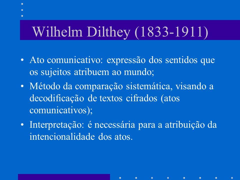 Wilhelm Dilthey (1833-1911) Ato comunicativo: expressão dos sentidos que os sujeitos atribuem ao mundo; Método da comparação sistemática, visando a decodificação de textos cifrados (atos comunicativos); Interpretação: é necessária para a atribuição da intencionalidade dos atos.