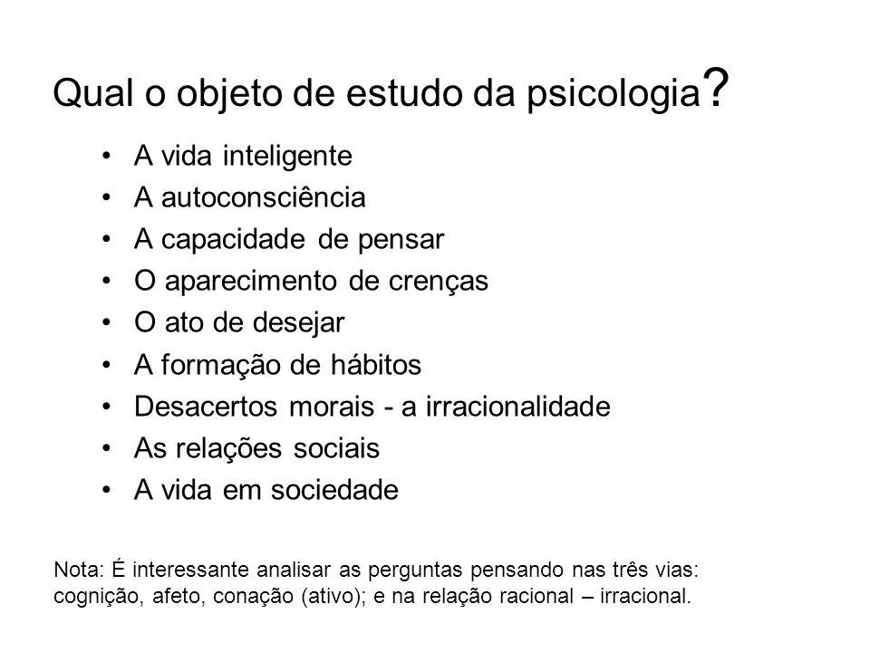 Qual o objeto de estudo da psicologia .