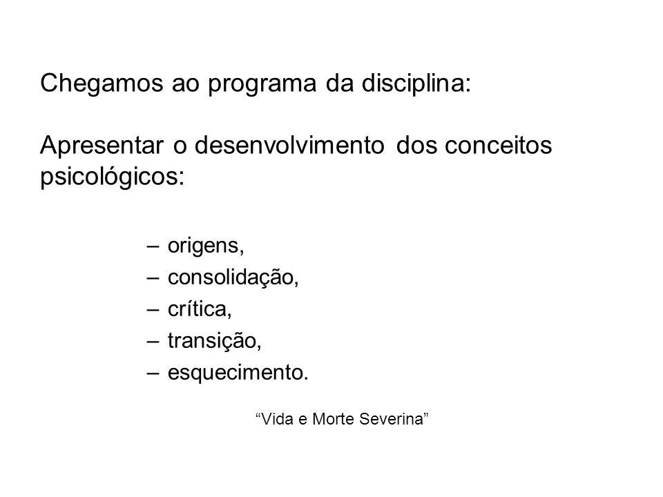 Chegamos ao programa da disciplina: Apresentar o desenvolvimento dos conceitos psicológicos: –origens, –consolidação, –crítica, –transição, –esquecimento.