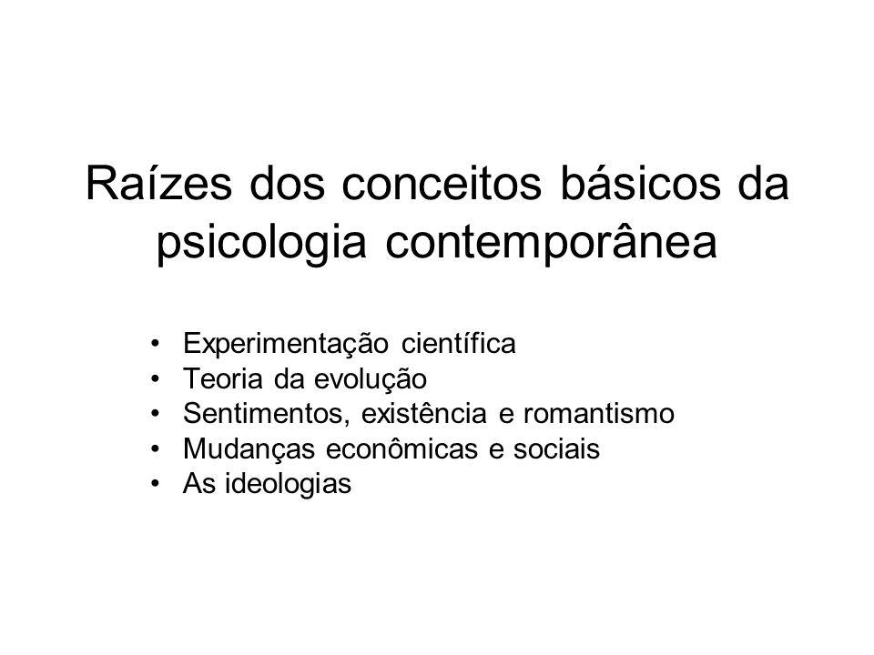Raízes dos conceitos básicos da psicologia contemporânea Experimentação científica Teoria da evolução Sentimentos, existência e romantismo Mudanças econômicas e sociais As ideologias