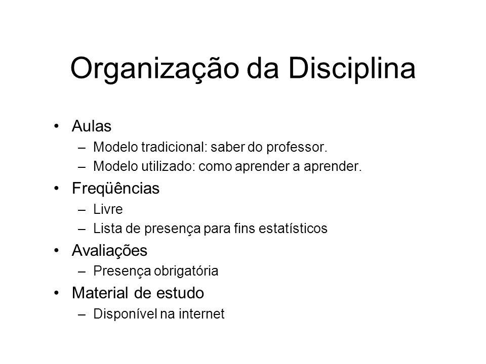Organização da Disciplina Aulas –Modelo tradicional: saber do professor.