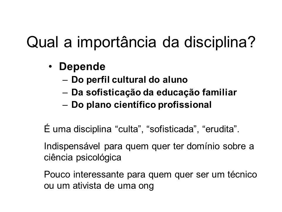 Qual a importância da disciplina.