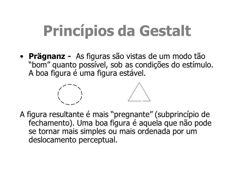 Princípios da Gestalt Prägnanz - As figuras são vistas de um modo tão bom quanto possível, sob as condições do estímulo. A boa figura é uma figura est