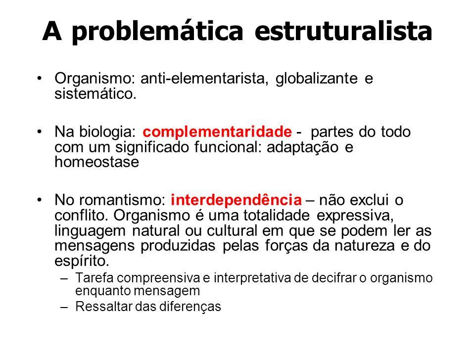 A problemática estruturalista Organismo: anti-elementarista, globalizante e sistemático. Na biologia: complementaridade - partes do todo com um signif