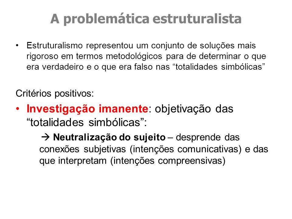 Estruturalismo representou um conjunto de soluções mais rigoroso em termos metodológicos para de determinar o que era verdadeiro e o que era falso nas
