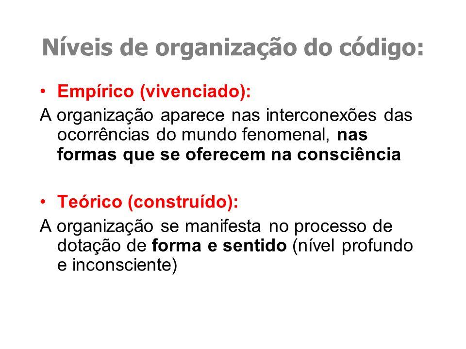 Níveis de organização do código: Empírico (vivenciado): A organização aparece nas interconexões das ocorrências do mundo fenomenal, nas formas que se