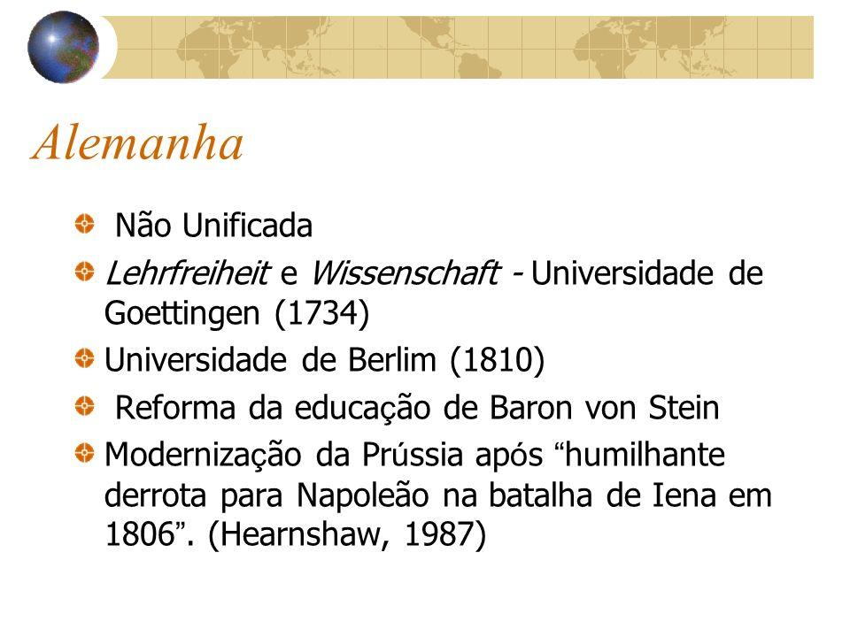 Alemanha Não Unificada Lehrfreiheit e Wissenschaft - Universidade de Goettingen (1734) Universidade de Berlim (1810) Reforma da educa ç ão de Baron vo