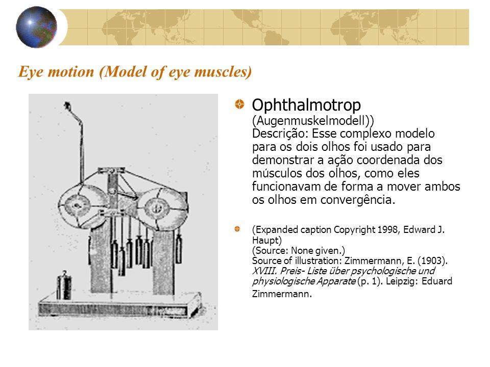 Eye motion (Model of eye muscles) Ophthalmotrop (Augenmuskelmodell)) Descrição: Esse complexo modelo para os dois olhos foi usado para demonstrar a aç