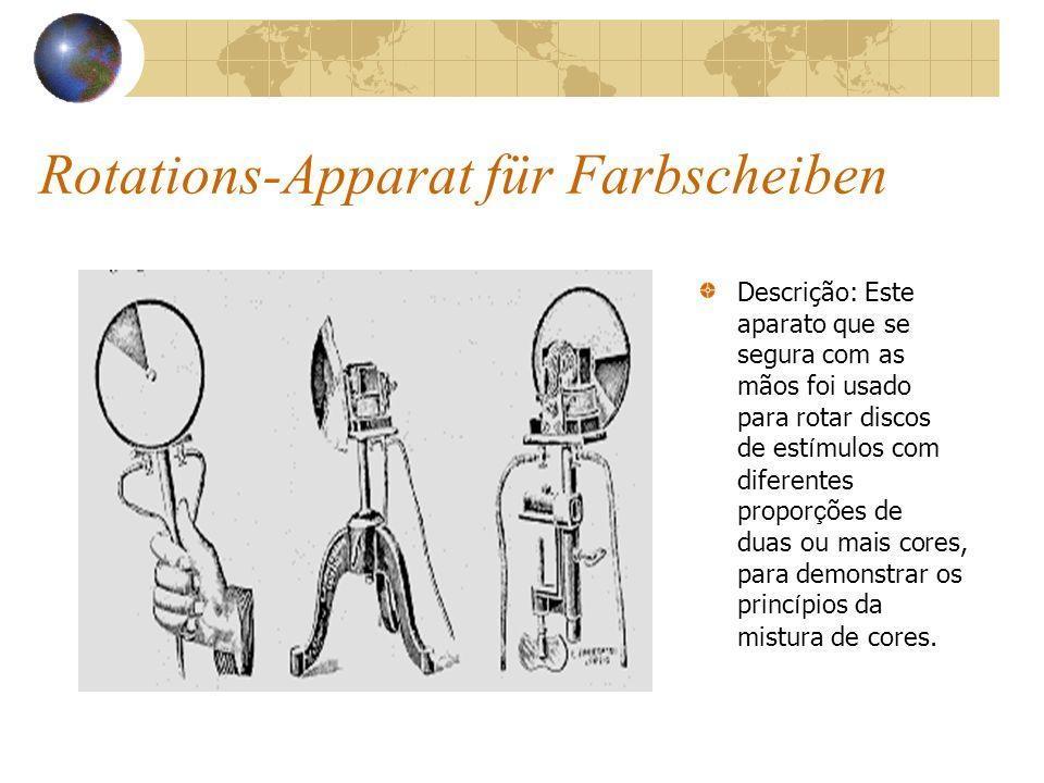 Rotations-Apparat für Farbscheiben Descrição: Este aparato que se segura com as mãos foi usado para rotar discos de est í mulos com diferentes propor