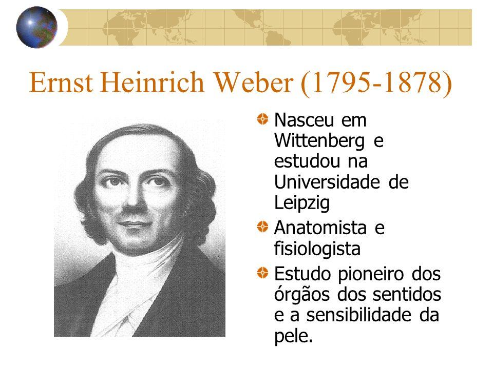 Ernst Heinrich Weber (1795-1878) Nasceu em Wittenberg e estudou na Universidade de Leipzig Anatomista e fisiologista Estudo pioneiro dos órgãos dos se