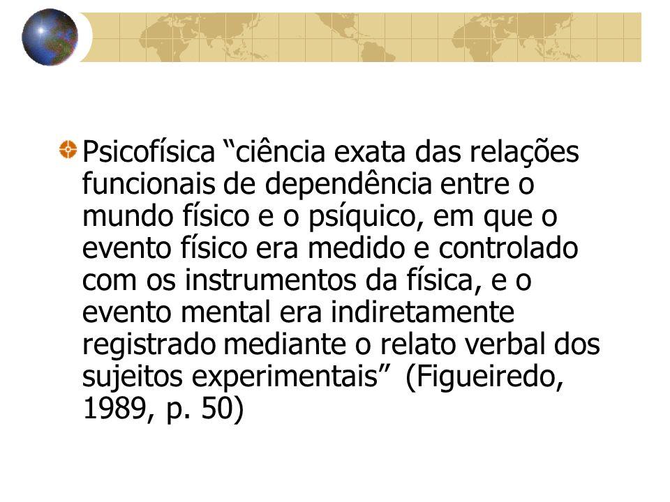 Psicofísica ciência exata das relações funcionais de dependência entre o mundo físico e o psíquico, em que o evento físico era medido e controlado com