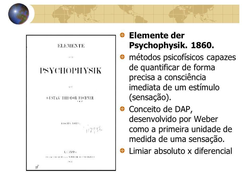 Elemente der Psychophysik. 1860. métodos psicofísicos capazes de quantificar de forma precisa a consciência imediata de um estímulo (sensação). Concei