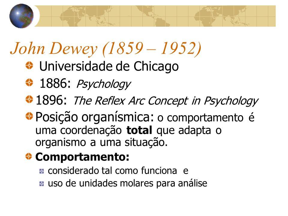 John Dewey (1859 – 1952) Universidade de Chicago 1886: Psychology 1896: The Reflex Arc Concept in Psychology Posição organísmica: o comportamento é um