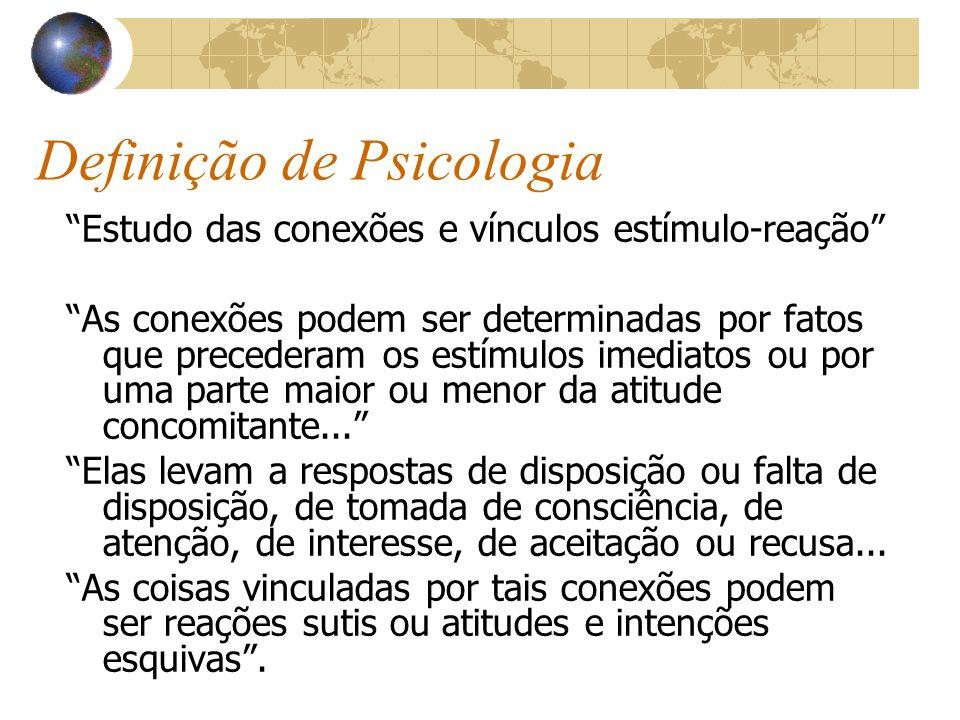 Definição de Psicologia Estudo das conexões e vínculos estímulo-reação As conexões podem ser determinadas por fatos que precederam os estímulos imedia