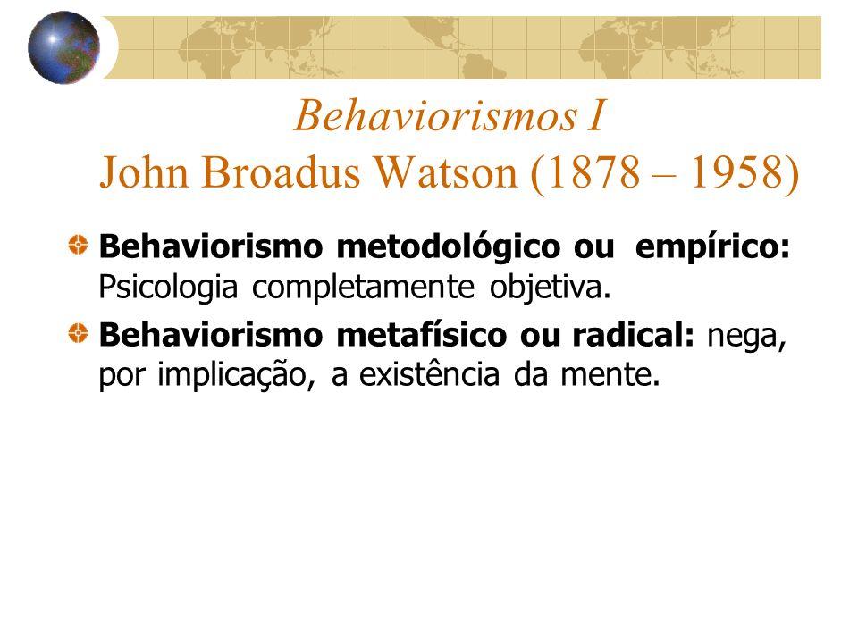 Behaviorismos I John Broadus Watson (1878 – 1958) Behaviorismo metodológico ou empírico: Psicologia completamente objetiva. Behaviorismo metafísico ou