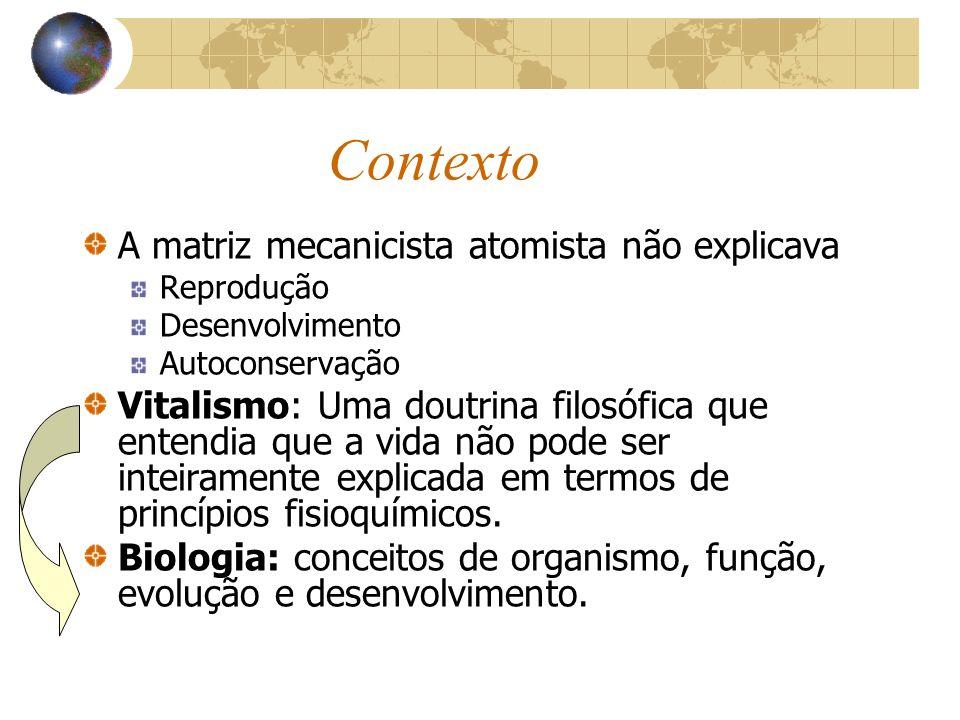 Contexto A matriz mecanicista atomista não explicava Reprodução Desenvolvimento Autoconservação Vitalismo: Uma doutrina filosófica que entendia que a