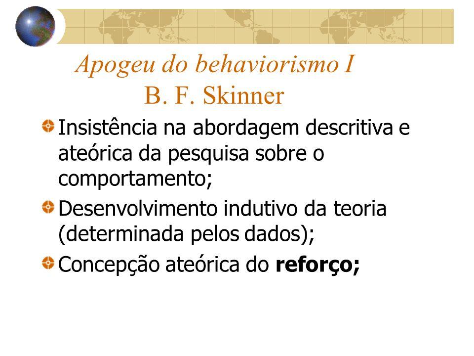 Apogeu do behaviorismo I B. F. Skinner Insistência na abordagem descritiva e ateórica da pesquisa sobre o comportamento; Desenvolvimento indutivo da t