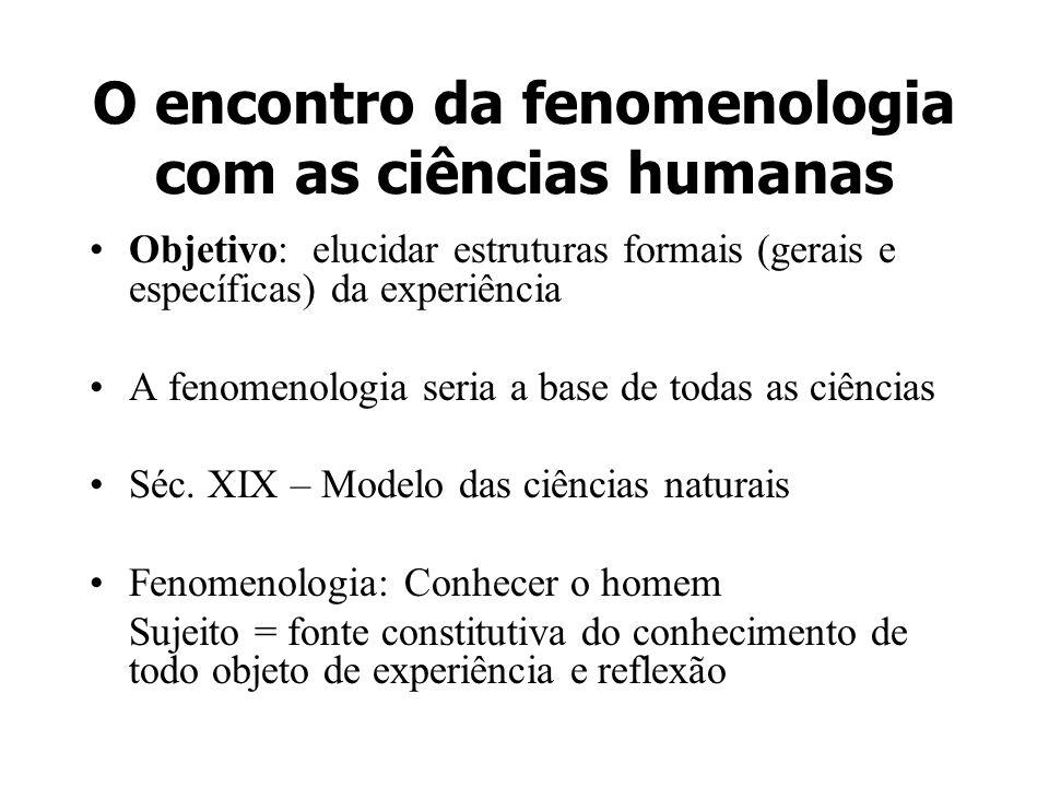 O encontro da fenomenologia com as ciências humanas Objetivo: elucidar estruturas formais (gerais e específicas) da experiência A fenomenologia seria